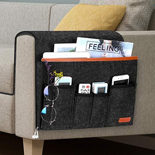 Sofa Armlehne Organizer mit 6 Taschen, Simboom Bett Tasche Anti-Rutsch Aufbewahrungstasche für Buch, Zeitschriften, Handy, Fernbedienung - Dunkelgrau