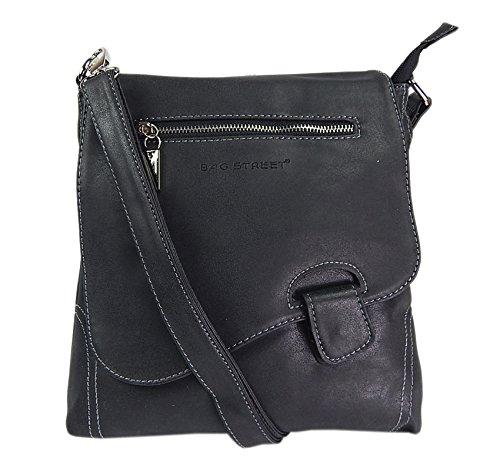 Bag Street - Bolso de hombro con presilla, aspecto desgastado, Negro (Negro) - Atlanta