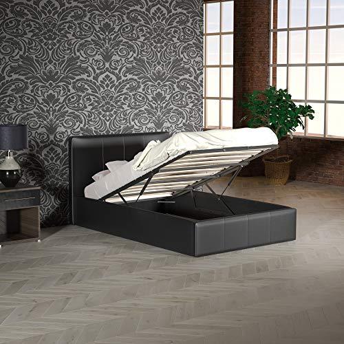Vida Designs Lisbon Einzelbett, 90 cm Ottoman Bettgestell Gepolstert PU Kunstleder Kopfteil Flaches Fußteil Schlafzimmermöbel, Schwarz