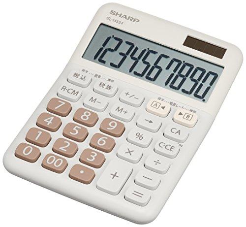 シャープ カラー電卓 ミニナイスサイズ ホワイト系 EL-M334-WX