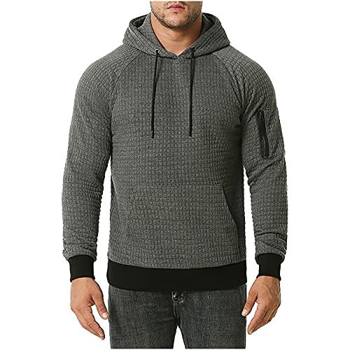BGUK Sudadera para hombre con capucha de manga larga con capucha y bolsillo de canguro, gris oscuro, XL