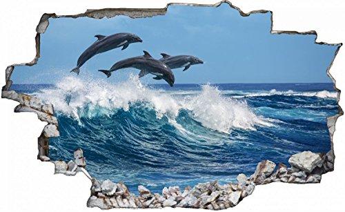 Delfine Meer Welle Delfin Wandtattoo Wandsticker Wandaufkleber C0185 Größe 40 cm x 60 cm