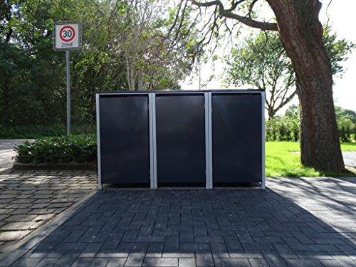 3 Mülltonnenboxen ohne Stanzung Anthrazitgrau für 240 Liter Mülltonnen / witterungsbeständig durch Pulverbeschichtung / mit Klappdeckel und Fronttür