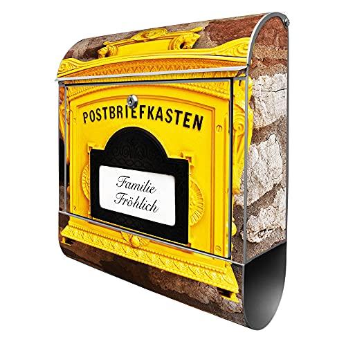 Ein bedruckter Briefkasten, der an alte Postbriefkästen erinnert
