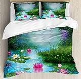 Nature - Juego de funda de edredón (3 piezas, con 2 almohadas, diseño de lirios de agua, diseño de loto, color rosa y verde