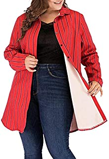 Wwucaihufafa The new women's winter plus thick velvet jacquard stripes loose long-sleeved single-breasted jacket lapel (Color : Red, Size : 4XL)