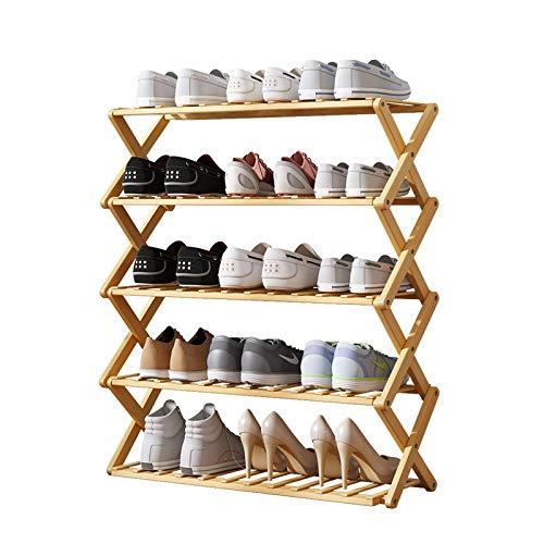 Organizador para Zapatos 5 capas de madera de color plegable sin necesidad de instalar zapatero simple de bambú de zapatos zapatero multi-capa de Hogares de gabinete en rack de almacenamiento económic