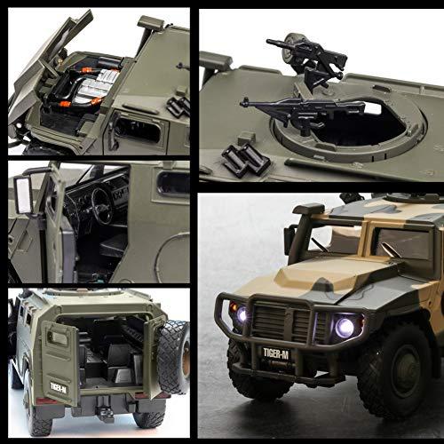 DishyKooker Modell Fahrzeug Spielzeug Auto RC Spielzeug Geschenk 1:32 Tiger Explosionsgeschütztes, gepanzertes Spielzeugauto aus Einer Legierung mit akustooptischer Öffnung Grün