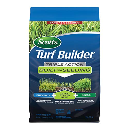 Scotts 23002 Turf Builder Triple Action Built for Seeding: Covers 1,000 sq. ft, Feeds New Grass, Lawn Weed Control, Prevents Crabgrass & Dandelions