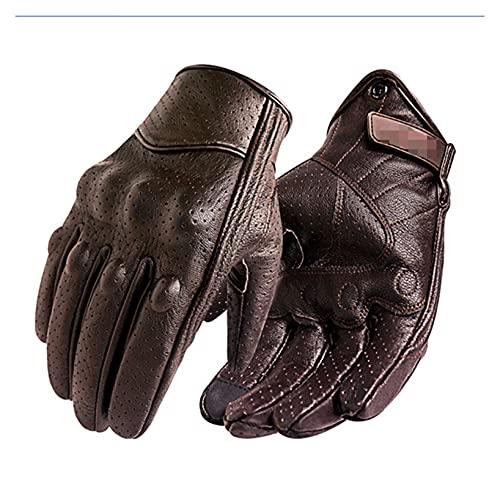 ZZPING Nuevos guantes de motocicleta hombres con pantalla táctil de cuero para bicicleta eléctrica guante ciclismo de dedo completo Moto Moto Bike Motocross ( Color : Perforated Brown , Size : XXL )