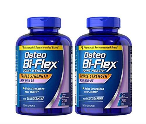 (pack of 2) Osteo Bi-Flex Glucosamine with MSM - 200 Tablets (Total 400 Tablets) (Osteo Bi Flex Triple Strength With 5 Loxin)