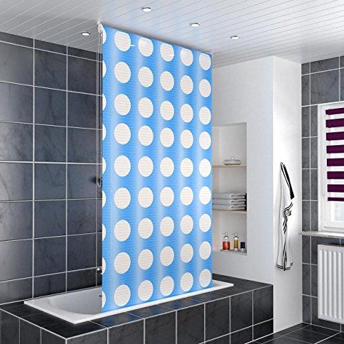 Homelux Duschrollo Badezimmer Vorhang Deckenbefestigung mit Klemmstange Seitenzug Links oder rechts montierbar 120 x 240 cm Moon