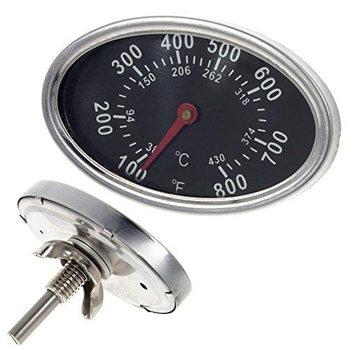 Smartfox Grillthermometer Temperaturanzeige Temperaturmesser oval für alle Grills, Smoker, Räucherofen, Gasgrill und Grillwagen, analog, Grillzubehör