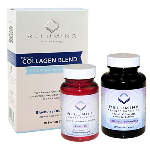 NEW! Relumins Premium Collagen, Glutathione and Vitamin C!! Summer Glow Set!!! (Blueberry)