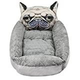 Ruib - Cama para perro, cojín para perro, gato, sofá para perro, cama para perro, cama con colchón extraíble, cesta suave y cálida para pequeños animales, cesta de forro polar con estampado de dibujo