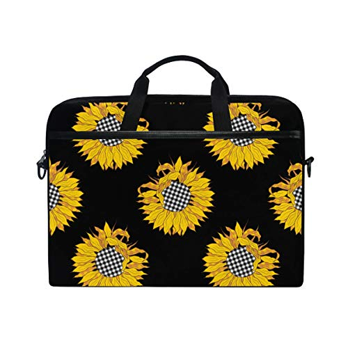 AHOMY Buffalo Plaid Sunflowers Laptop Shoulder Messenger Bag Case Sleeve for 14 Inch 15 Inch Briefcase
