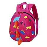 Trada Kindergartentasche, Baby Jungen Mädchen Kinder Dinosaurier Muster Tiere Rucksack Kleinkind Schultasche/Wickelrucksack mit Sicherheitsleinen für Babys/Rucksäcke für kleine Kinder (Hot Pink)