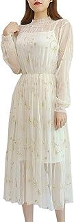 YOUMU Women Summer Chiffon Dress Stars Moon Print Embroidered Skirt Long Puff Sleeve Princess Dress