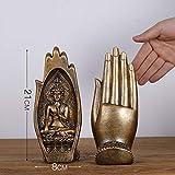 Esculturas,2Pc Set 21Cm Resina Estatua De Buda De Oro Mano Figuras Creativas Estatua del Sudeste Asiático Arte Vintage Estatuillas Ornamento Regalo para La Decoración del Hogar