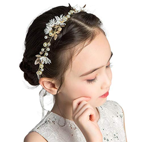 IYOU Diadema para la cabeza de la flor de la hoja de la flor de la perla de oro de la primera comunión con cristal floral de la boda accesorios para el pelo de las niñas