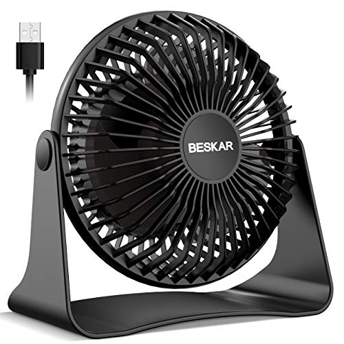 BESKAR USB Small Desk Fan -2020 New, 6 Inch Portable Fans with 3 Speeds Strong Airflow, Quiet Operation and 360°Rotate, Personal Table Fan for Home,Office, Bedroom- 3.9 ft Cord