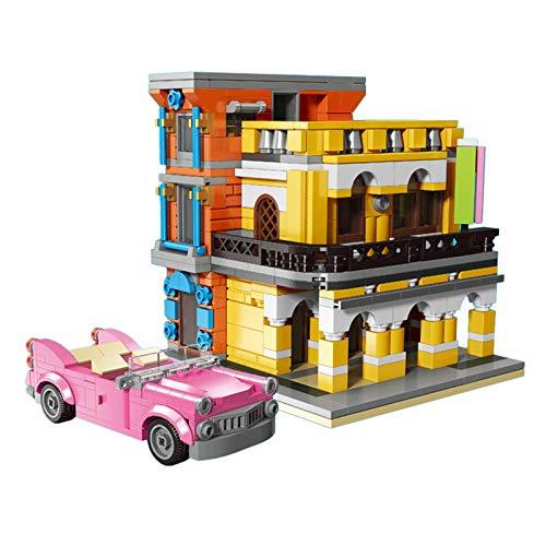 CT-Tribe Bausteine Architektur Modell, Café mit Kleinwagen Modular Architektur Modell mit 650 Teile und 3...