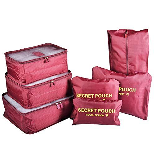 Reise Packtaschen für Koffer & Rucksack, TOYESS wasserdichte Kompression Taschen Kleidertaschen-Set 7-teilig für Reisen Oder auch für Zu Hause, Red Wine