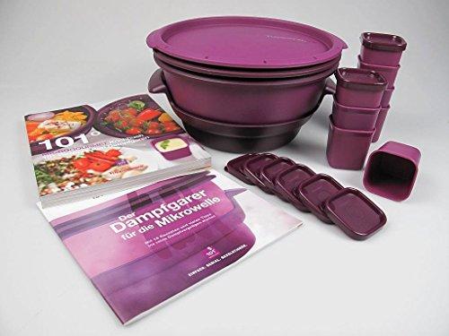 TUPPERWARE Mikrowelle MicroGourmet Dampfgarer, Gareinsatz, Förmchen (8), Kochbücher