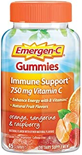 Emergen-C Gummies Vitamin C 750mg Immune Support (45 Count, Orange, Tangerine and Raspberry Flavors), with B Vitamins, Gluten Free