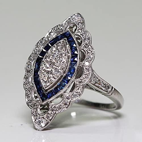 HCMA Anillo de Encanto Retro para Mujer, Accesorios de joyería de Plata, Anillo de Piedras Preciosas de circonita de Zafiro, Regalo de joyería de Compromiso de Boda