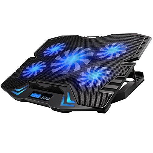 Ewent EW1259 Gaming Laptop Kühler 12-17 Zoll, 5 Ruhige Lüfter mit blau LEDs, 2 USB-Ports, Cooling Pad, Notebook Cooler Ständer Kühlpad Kühlmatte, schwarz