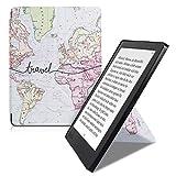 kwmobile Carcasa Compatible con Kobo Aura H2O Edition 2 - Funda magnética de Origami para e-Book - Mapa Mundial Negro/Multicolor