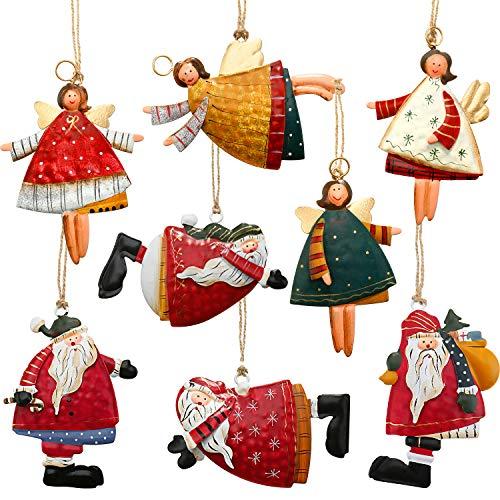 Boao 8 Pieces Metal Christmas Tree Ornaments Set Tin Santa Angel Decorations Santa Angel Ornaments for Christmas Favors