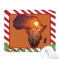 ライオンは草原のアフリカ大陸の名前マップ ゴムクリスマスキャンディマウスパッド