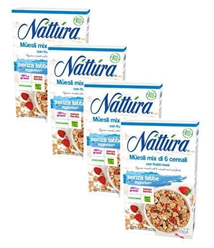 Nattura Muesli Mezcla orgánica de 6 cereales con frutos rojos sin levadura y sin aceite de palma - 4 x 300 gramos