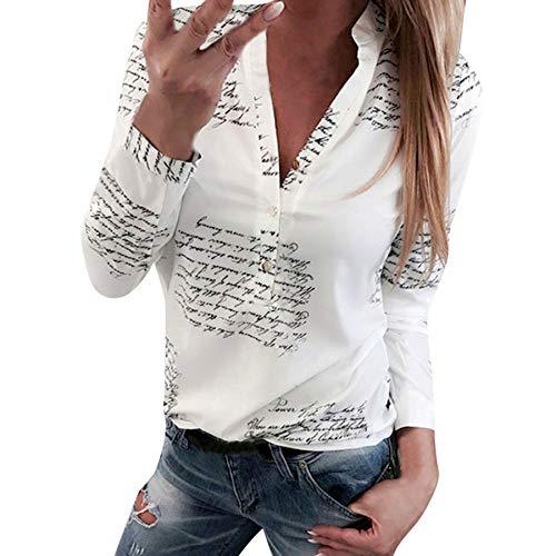 Proumy Camiseta Blanca Mujer con Impresión de Frases Blusa con Botón Camisa con Manga Larga Tops con Lema Vestido con Escote Elegante