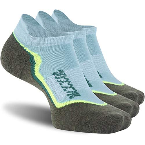 Low Cut Men Running Socks Wool, WXXM Organic Caushion Merino Wool Anti-blister Athletic Winter Thin Running Socks 3Pairs Green L