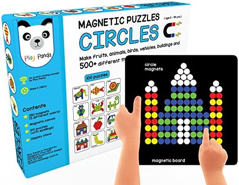 Play Panda Magnetic Puzzles Circles with 250 Colorful Magnets, Magnetic Board, Puzzle Book with 100 Puzzles, Display ...