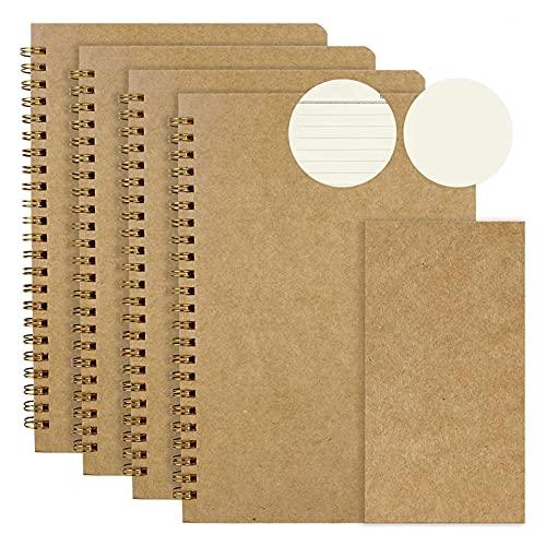 O'woda Set di 4 Blocco Note A5, Quaderno Schizzi per Copertina Rigida Carta Kraft 80GSM, Sketchbook Diario Pagine Bianche/Righe (50 Fogli), per Appunti Graffiti e Registrare
