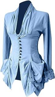 Lazzboy Kostüm Frauen Langarm Retro Lace Trim Button Up Vin