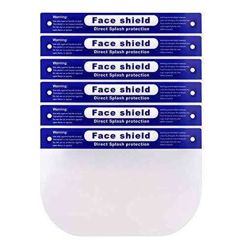 5 Pcs Reusable Safety Face Shield Anti-fog ProtectiveFace Shield Universal Transparent Full Face Protection Visor Anti-Spitting Splash Facial Cover for Men & Women