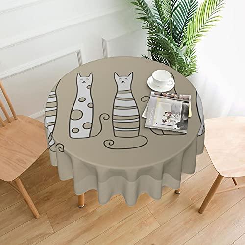 Pósters-Cinco gatos Vector - Manteles redondos para mesa circular decoración del hogar para exteriores e interiores, cocina, comedor, fiesta, vacaciones de 60...