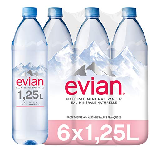 Evian Agua Mineral Natural - Pack de 6 x 1,25L