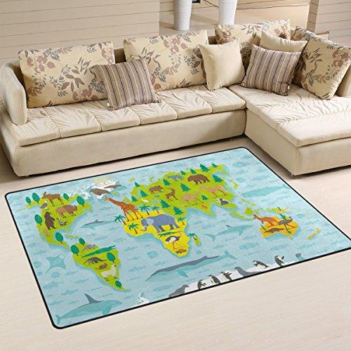 Use7 Tapis de sol antidérapant Motif carte du monde, design amusant, Tissu, multicolore, 50 x 80 cm(1.7