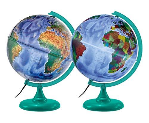 Globo Terrestre Físico e Político, 30 cm, com lâmpada LED/Abajur + Mapa Mundi
