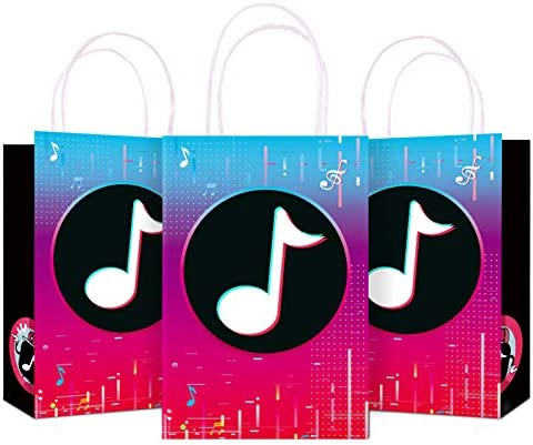 12 Pack Party Goodie Bag with Handle Birthday Gift Bags for Kids Adults Musical Themed Birthday product image
