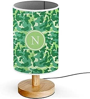 [ INITIAL LETTER N ] Monogram Name USB POWERED Wood Base Desk Table Bedside Lamp [ Green Camouflage ]