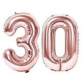 Siumir Globos de Numero Oro Rosa Número 30 Grande Globos de Cumpleaños Papel de Aluminio Globos Decoración de Fiestas de Cumpleaños