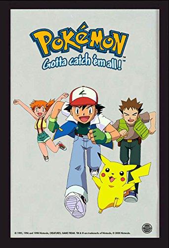Miroir Pokémon Ash & Friends en Couleur imprimée, Cadre en Plastique Noir, Aspect Bois.
