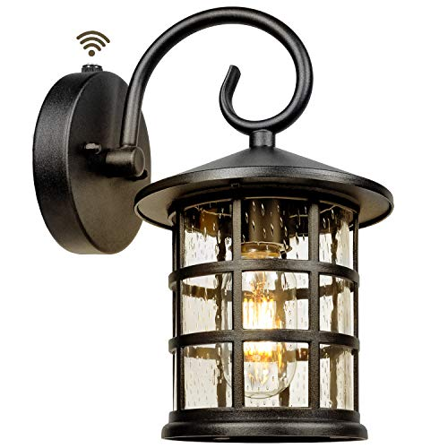 Upgrade Dusk to Dawn Sensor Outdoor Wall Lantern, Exterior Wall Mount Lights and Outdoor Sconce Porch Light Fixture with E26 Socket,Anti-Rust, Waterproof, Ideal for Garage, Doorway, Barn-10.3''x7.84''